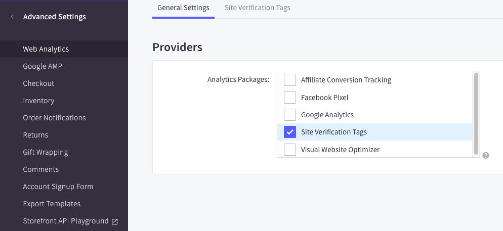 Showing bigcommerce site verification tags checkbox