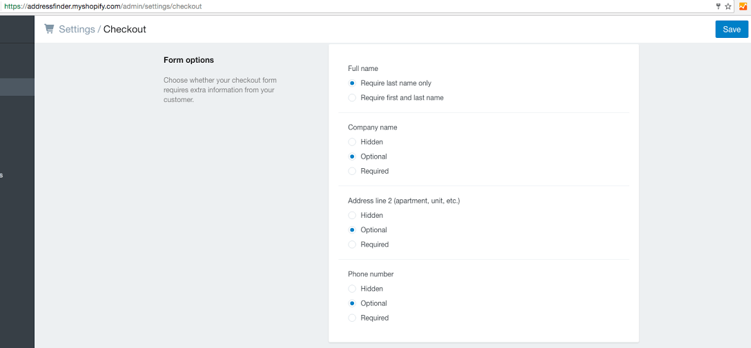 Screenshot of enabled address fields in Shopify Checkout Settings