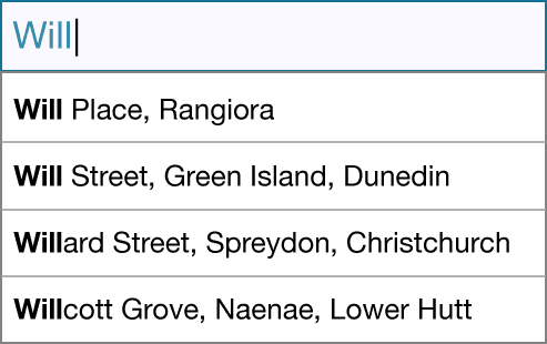 An autocomplete field showing a dropdown list of street address results.